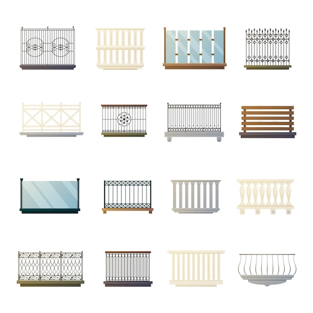 Balcony railings design flat icons collection Free Vector