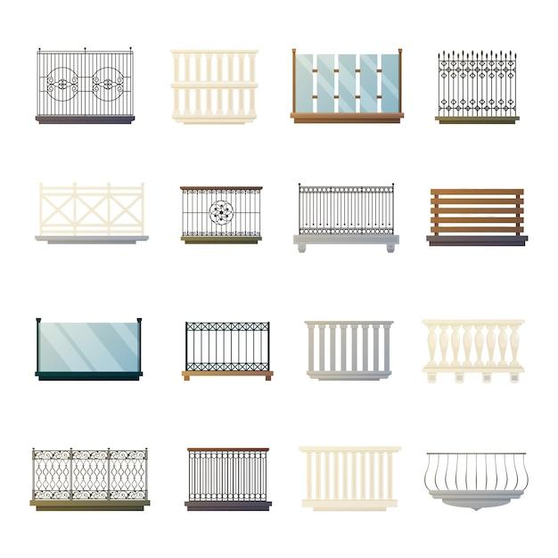 Collezione di icone piane di parapetti di balcone Vettore gratuito