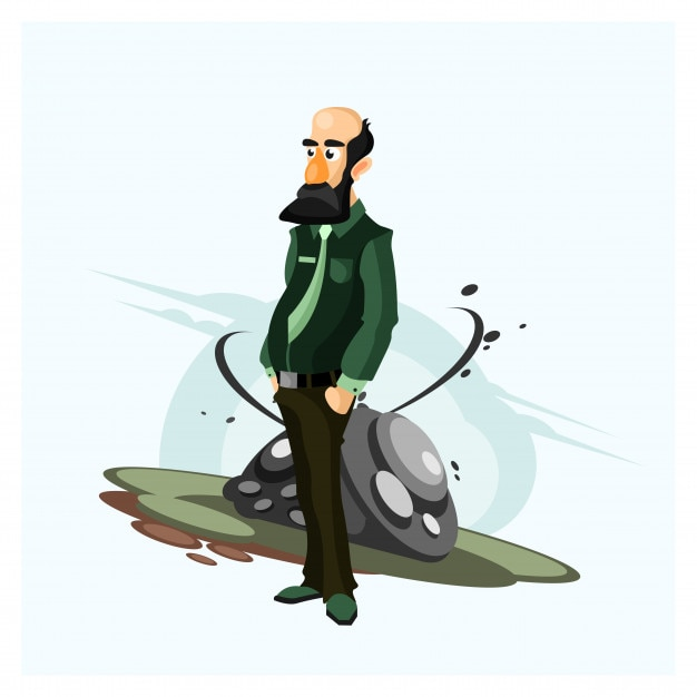 bald and bearded old man standing cartoon character vector | premium