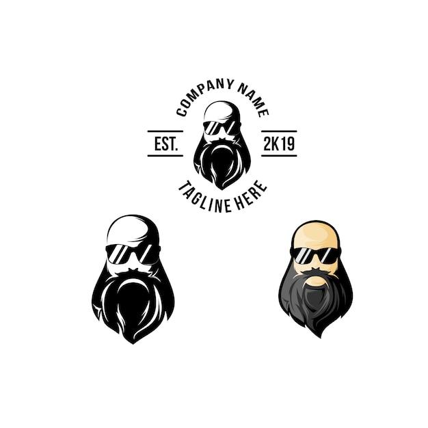Bald head beard logo design Premium Vector