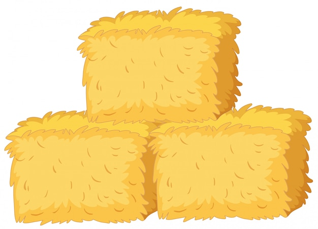 Bales of straw on white background Premium Vector