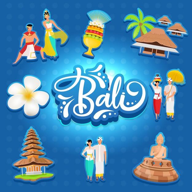 バリソーシャルメディアのポストモックアップ。インドネシアの島。アジアの文化。広告webバナーデザインテンプレートです。ソーシャルメディアブースター、コンテンツレイアウト。プロモーションポスター、印刷広告、フラットイラスト、ステッカー Premiumベクター