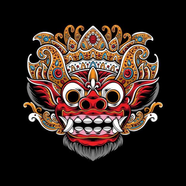 Illustrazione di maschera barong balinese Vettore gratuito