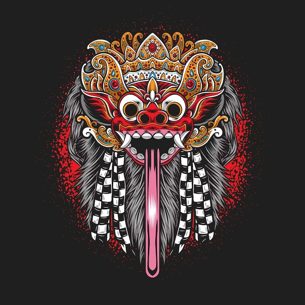 Balinese barong mask isolated on black Free Vector