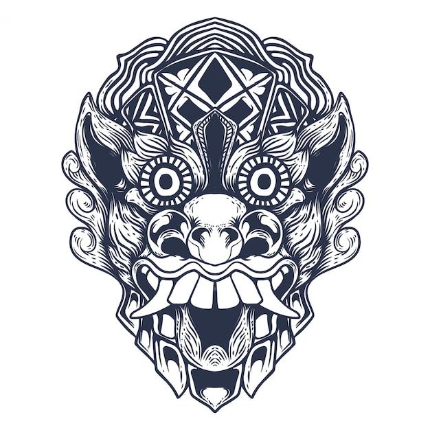 バリの悪魔のアートワークイラスト Premiumベクター