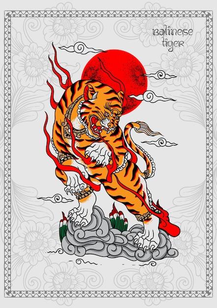Балийский тигр татуировка плакат печать Premium векторы