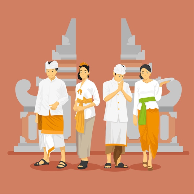 Balinese traditional attire with gate Premium Vector
