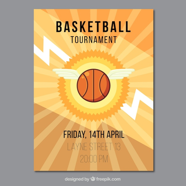Ball basketball flyer with wings Vector | Free Download