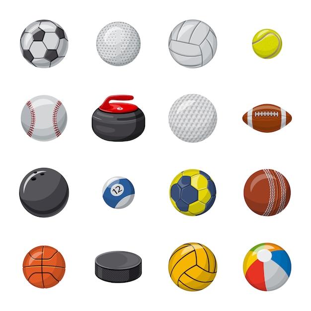 Ball cartoon icon set, sport ball. Premium Vector