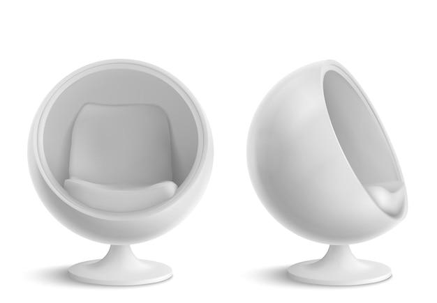 Ball chair, poltrona rotonda vista frontale e laterale. mobili dal design futuristico per interni di casa o ufficio, comodo sedile a forma di uovo isolato su sfondo bianco. illustrazione realistica di vettore 3d Vettore gratuito