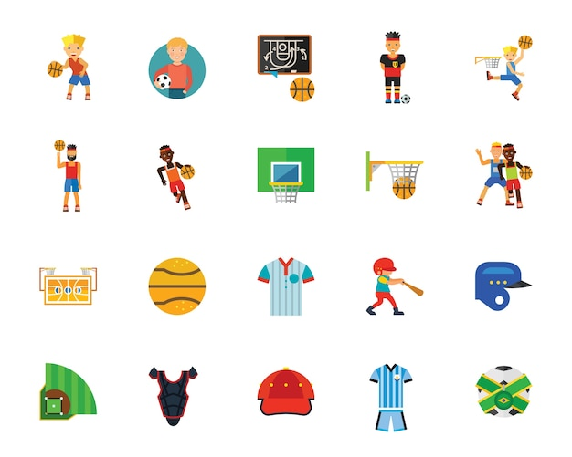 Giochi con la palla e set di icone di concorrenza Vettore gratuito