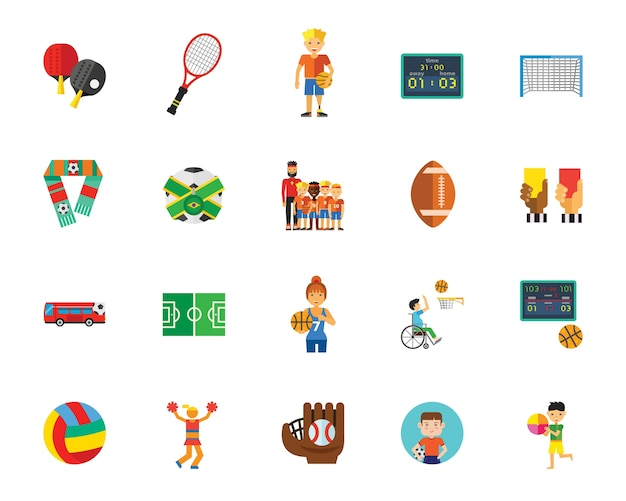 Ball games icon set Free Vector