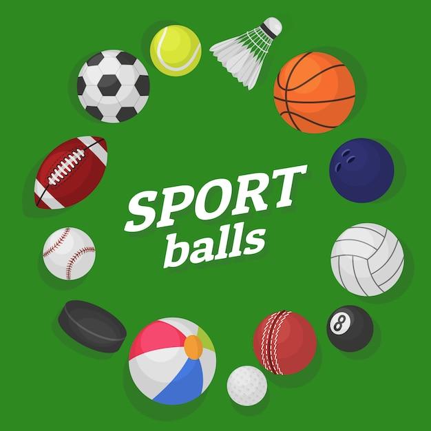 Ball games. sports equipment collection balls soccer hockey baseball basketball billiard colorful banner cartoon Premium Vector