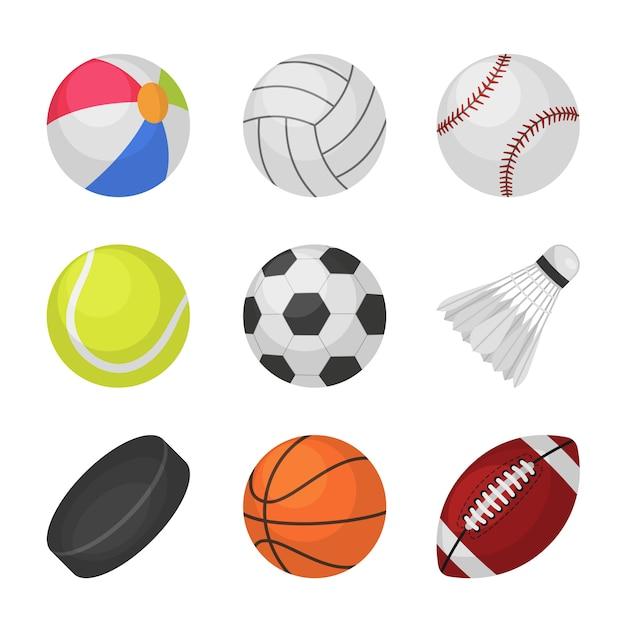 ボールゲーム。スポーツキッズボールバレーボール野球テニスサッカーサッカーバンビントンホッケーバスケットボールラグビーボール Premiumベクター
