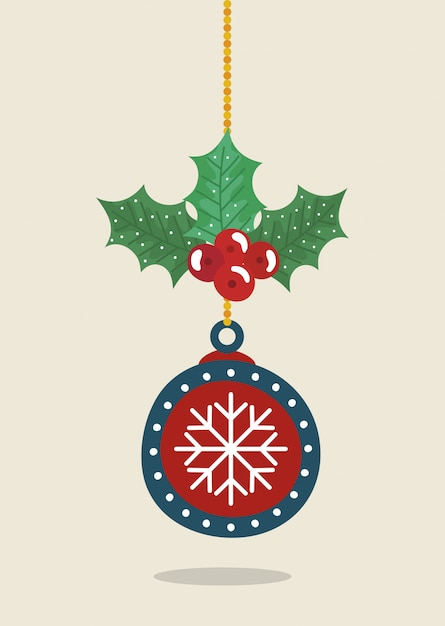 Ball hanging of merry christmas decoration Free Vector