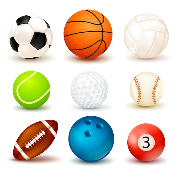 Ball icon set Free Vector