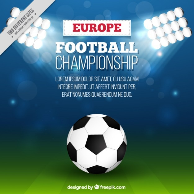 Ball in the football stadium background Free Vector