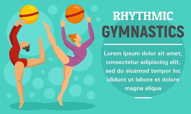Ball rhythmic gymnastics concept banner Premium Vector