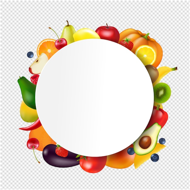 Шар с фруктами и овощами прозрачный фон Premium векторы