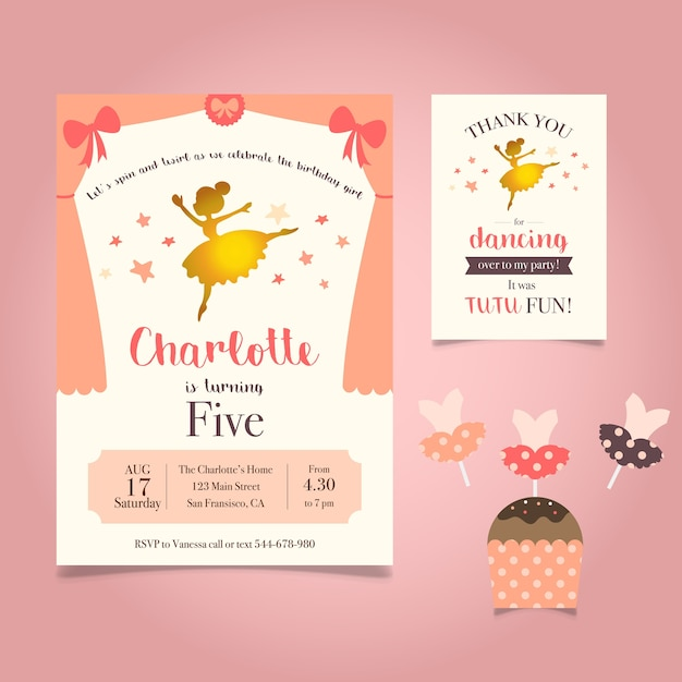 Ballerina Birthday Invitation Free Vector