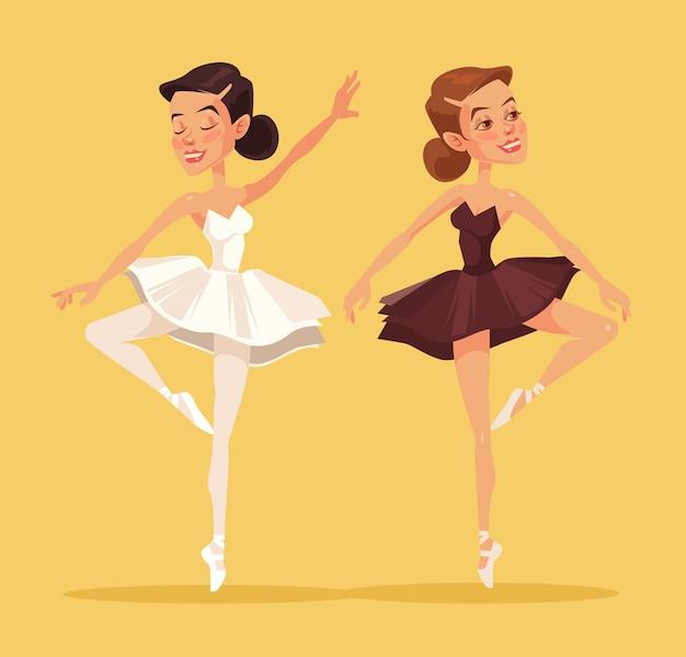 Ballerina in dance. two black and white ballerina. flat cartoon illustration Premium Vector