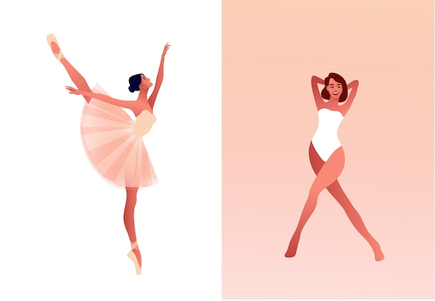 Ballerina and modern dancer flat  set illustration. beauty of classic ballet. young graceful woman ballet dancer wearing tutu. pointe shoes, pastel colours Premium Vector