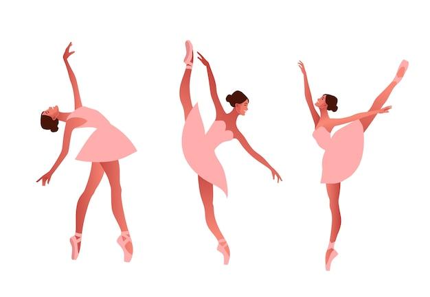 Ballerina and modern dancer flat  set illustration. beauty of classic ballet. young graceful woman ballet dancer wearing tutu. pointe shoes, pastel colours Premium Vector