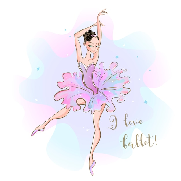 Ballerina in a pink tutu Premium Vector