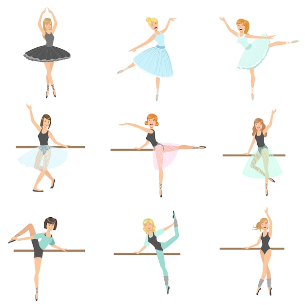 Ballerinas training in dance class set Premium Vector