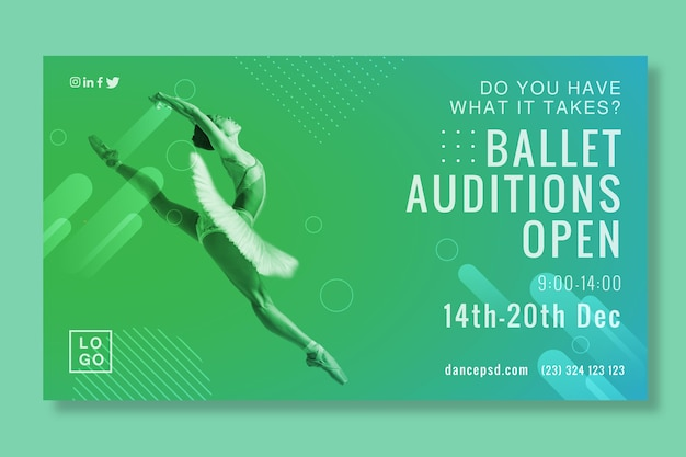 Ballet auditions opening banner Free Vector