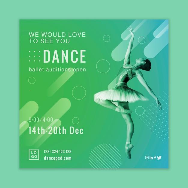 Design flyer quadrato audizioni di balletto Vettore gratuito