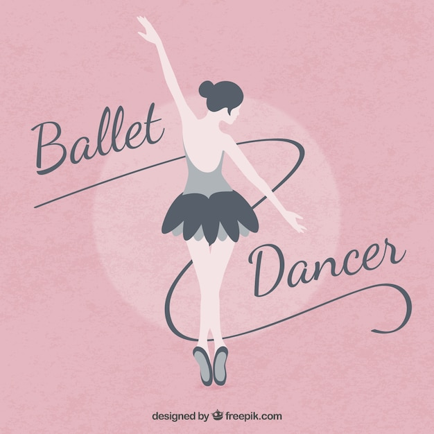 Ballet ballerina on a pink background in flat design Free Vector
