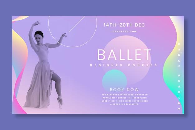 Балерина горизонтальный баннер шаблон Бесплатные векторы