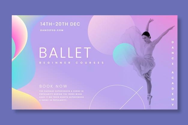 Балерина горизонтальный баннер Бесплатные векторы