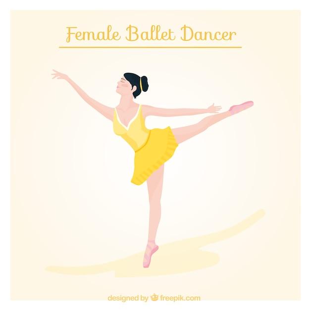 Ballet dancer with a yellow dress