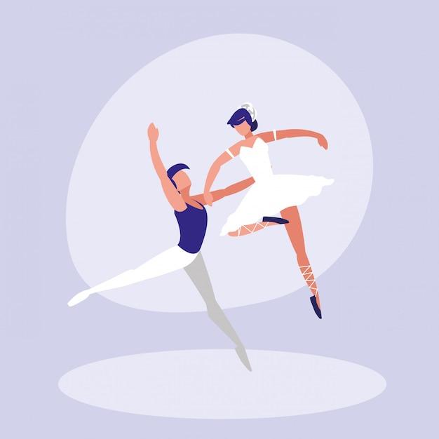 Ballet dancers couple isolated icon Premium Vector