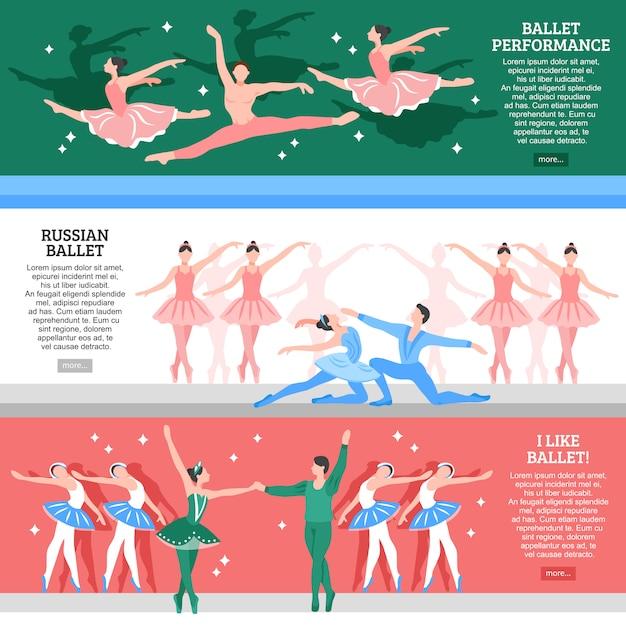 Набор балетных плоских баннеров Бесплатные векторы