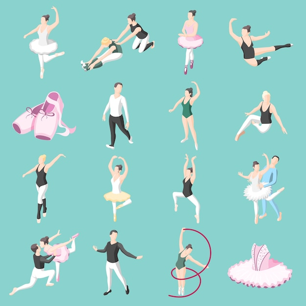 Ballet isometric icons set of dancer couples ballerinas in dancing poses and doing training exercises Free Vector