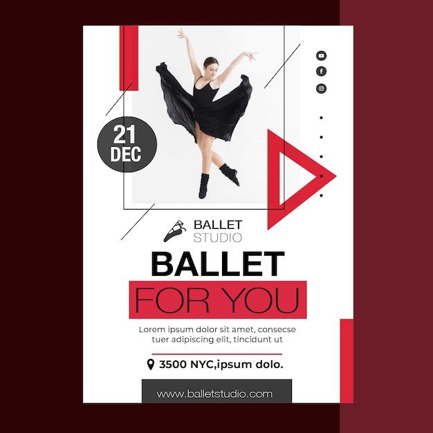 Стиль шаблона плаката уроки балета Бесплатные векторы
