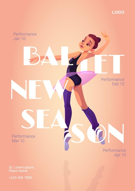 Manifesto del fumetto di nuova stagione di balletto con ballerina in tutù e scarpe da punta stanno in posizione di ballo. Vettore gratuito