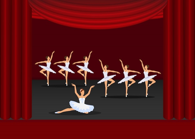 Ballet show dancing girls artists on red curtains stage  illustration. Premium Vector