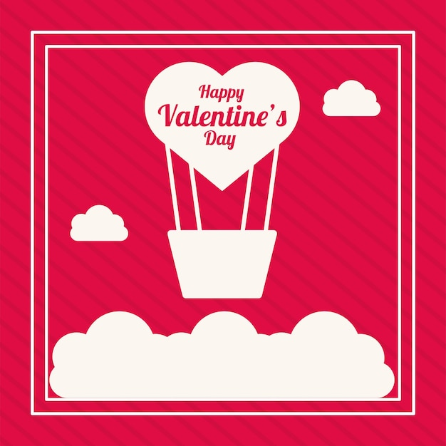 Воздушный шар воздух горячий с сердцем любовь день святого валентина на красном фоне Premium векторы