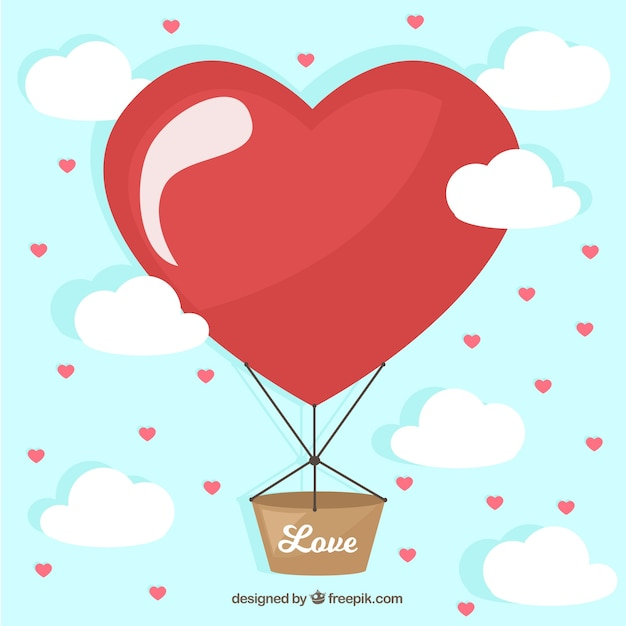 Balloon background with heart Free Vector