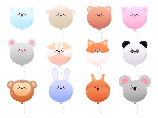 Воздушный шар cute kawaii животные изолированы Premium векторы