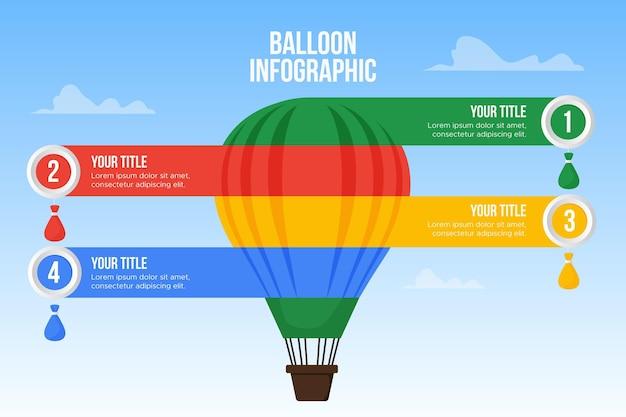 Воздушный шар инфографика Бесплатные векторы