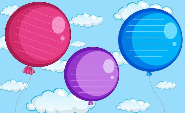 A balloon note template Free Vector
