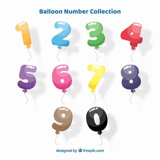 Raccolta numero di palloncini Vettore gratuito