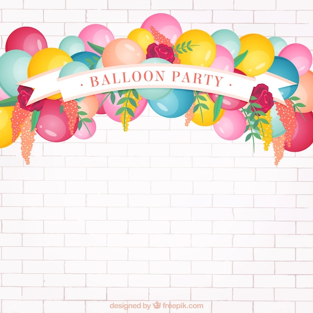 Balloon Party Background Vector Free Download