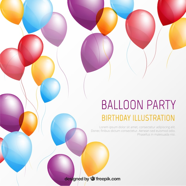 Balloon Party Template Vector Free Download