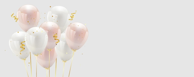 Balloon pink and white confetti and gold ribbons. Premium Vector